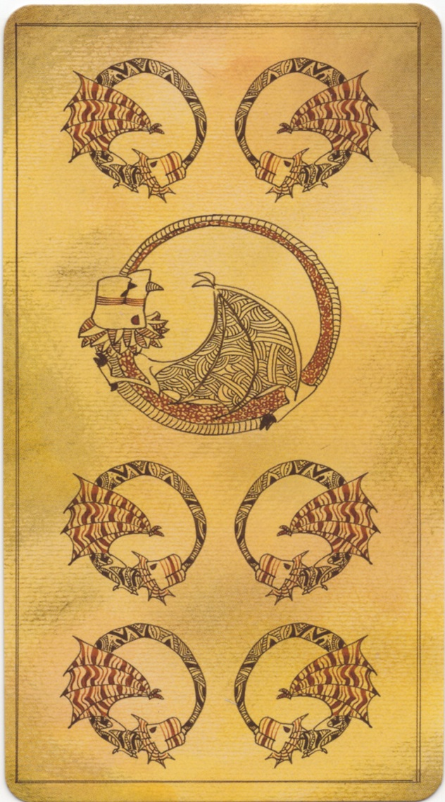 """7 of Dragons card, """"Lost Code of Tarot"""" deck, (equivalent of the 7 of Pentacles card)"""